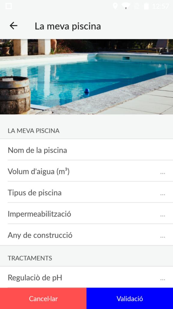 Utilitzar l'aplicació de blue connect d'astral pool, omple les dades de la teva piscina. Espai Piscines Graf